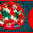 Crocheted Sewing Pin Cushion with Thread Caddy 10 Reversible Christmas Colors