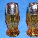 """VTG Amber/Topaz Salt & Pepper Glass Shakers Anchor Hocking """"Georgian"""" Pattern"""