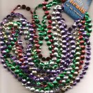 Necklaces..Party Beads (7 NECKLACES) 5 Different Colors MARDI GRAS Flat Beads