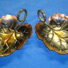 Coppercraft Guild Decorative Leaf Shape Candy/Nut Dish w/Brass Handle (Set of 2)