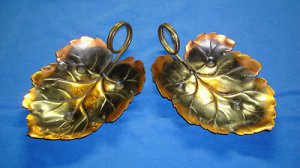 Coppercraft Guild Decorative Leaf Shape Candy/Nut Dish w/Brass Handle (Set of 2)
