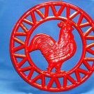 Red Rooster Round Iron Trivet Wall or Hot Plate ~ 8 inches Round ~Circa ODI 2005