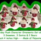 Christmas Holiday Plush Character Ornaments Set of 8 ~ NEW ~