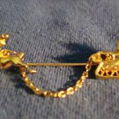 Christmas PIN Avon SLEIGH CHATELAINE Vintage Goldtone Brooch ~Circa 1983~ No Box