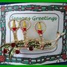 Christmas PIN #259 VTG Triple Candle Enamel & Goldtone Advent-Holly-Rhinestones