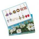 Earring Spring Garden Earring Set 7 Pair Silvertone & Goldtone Pierced NEW Boxed