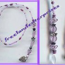 Beaded Bookmark Thong #13 Purple-White-Silver Heart 16 inch