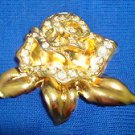 Pin Avon ROSE PASSION - Brooch Goldtone & Rhinestones Circa 1995 (New Old Stock)