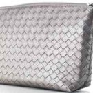 Make Up Bag ~ Clutch Silver Woven Bag NEW