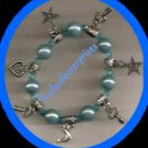 Bracelet Beaded Acrylic & Charms & Beaded Stretchie Light Blue