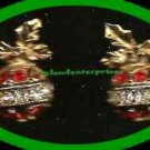Christmas Earrings Sparkling Season's Greetings Ornament Red & Clear Pierced