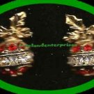 Christmas Earrings Sparkling Season's Greetings Ornament Red & Clear Clip NIB