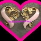 "Breast Cancer Pink Ribbon Earrings Pierced ""3/4 inch x 5/8 inch"""