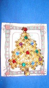 Christmas PIN #0449 Eisenberg Vintage Goldtone & Rhinestone Christmas Tree Pin