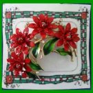 Christmas PIN #0192 Trifari VTG Poinsettia & Green Enamel Leaves Goldtone Brooch