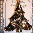 Christmas PIN #0455 Goldtone Christmas Tree TAC Pin w/enamel ornament & Red Star