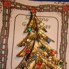 Christmas PIN #0454 Vintage Goldtone Christmas Tree with Rhinestone Ornaments