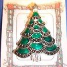 Christmas PIN #0445 Silvertone, Green Enamel, Marcasite & Rhinestone Xmas Tree