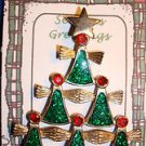 Christmas PIN #0440 Green Angel Christmas Tree Pin~Goldtone-Green Glitter Enamel