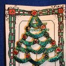 Christmas PIN #0438 Vintage Green Scalloped Pine Tree Goldtone with Red Ornament