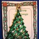 Christmas PIN #0437 Green Christmas Tree Goldtone Star & Base with Red Ornaments
