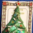 Christmas PIN #0434 BJ Vintage Green Christmas Tree Goldtone & Rhinestones
