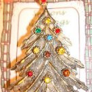 Christmas PIN #0433 Vintage BJ Goldtone & Color Faceted Rhinestone Ornament Tree