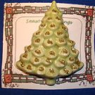 Christmas PIN #0420 Vintage Ceramic Christmas Tree Pin Green & Gold Glitter