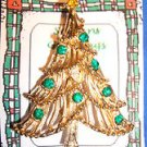 Christmas PIN #0414 Vintage Goldtone & Green Faceted Rhinestone Ornaments Tree