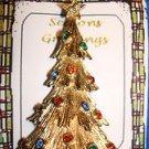 Christmas PIN #0412 Vintage Monet Goldtone Faceted Rhinestone Christmas Tree Pin