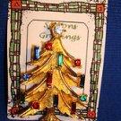 Christmas PIN #0406 Mamselle VTG Goldtone Christmas Tree & Candle Rhinestones
