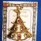 Christmas PIN #0402 Vintage Goldtone, Angel & Rhinestones Christmas Tree Pin