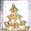 Christmas PIN #0400 AAI Vintage Goldtone, Red & Green Ornaments Christmas Tree