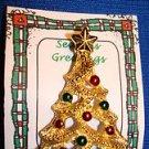 Christmas PIN #0396 Gerrys Vintage Goldtone & Enamel Ornaments Christmas Tree