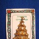 Christmas PIN #0389 Vintage Goldtone & Clear Rhinestone Christmas Tree Pin