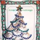 Christmas PIN #0387 Gerrys Vintage Silvertone Christmas Tree Blue & Green Enamel