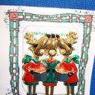 Christmas PIN #0379 Signed AJC Vintage 3 Reindeer Singing Colors-Goldtone Pin
