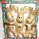 Christmas PIN #0377 Signed AJC Vintage 3 Reindeer/Deer Dancing Goldtone Pin
