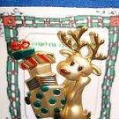 Christmas PIN #0376 Signed Danecraft Reindeer w/Christmas Present Goldtone Pin