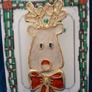 Christmas PIN #0373 Buck Deer/Reindeer White enamel With Red Bow & Goldtone Pin