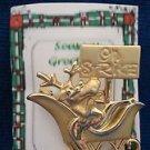 "Christmas PIN #0371 Signed Danecraft Reindeer Sleigh ""On Strike"" Goldtone Pin"