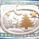 "Christmas PIN #0369 JJ Deer Scene Pewter ""Jonette Artifacts"" Tree-Deer-Moon-Star"