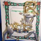 Christmas PIN #0367 Buck Reindeer Matte Florentine Finish Silvertone w/Goldtone
