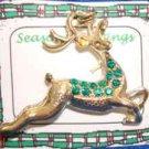 Christmas PIN #0365 Buck Reindeer Goldtone & Green Rhinestone Pin ~Looking Right