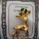 Christmas PIN #0363 VTG AAI Buck Reindeer Goldtone & Holly Scatter Pin-VGC RARE