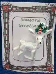 Christmas PIN #0361 VTG Gerrys Buck Reindeer White Irridescent Enamel &Holly Pin