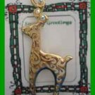 Christmas PIN #0360 LACE Buck Reindeer Goldtone Pin ~4 Rhinestones @horn