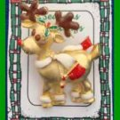 Christmas PIN #0358 Buck Reindeer Goldtone Pin Enamel Brown Horns ~looking left