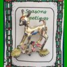 Christmas PIN #0353 Reindeer Doe Goldtone Pin with Pink -Yellow Flowers & Stones