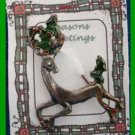 Christmas PIN #0352 Buck Reindeer Pewter Pin with Green Holly ~ running left